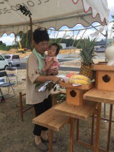 地鎮祭を行いました 飯塚市 母と孫