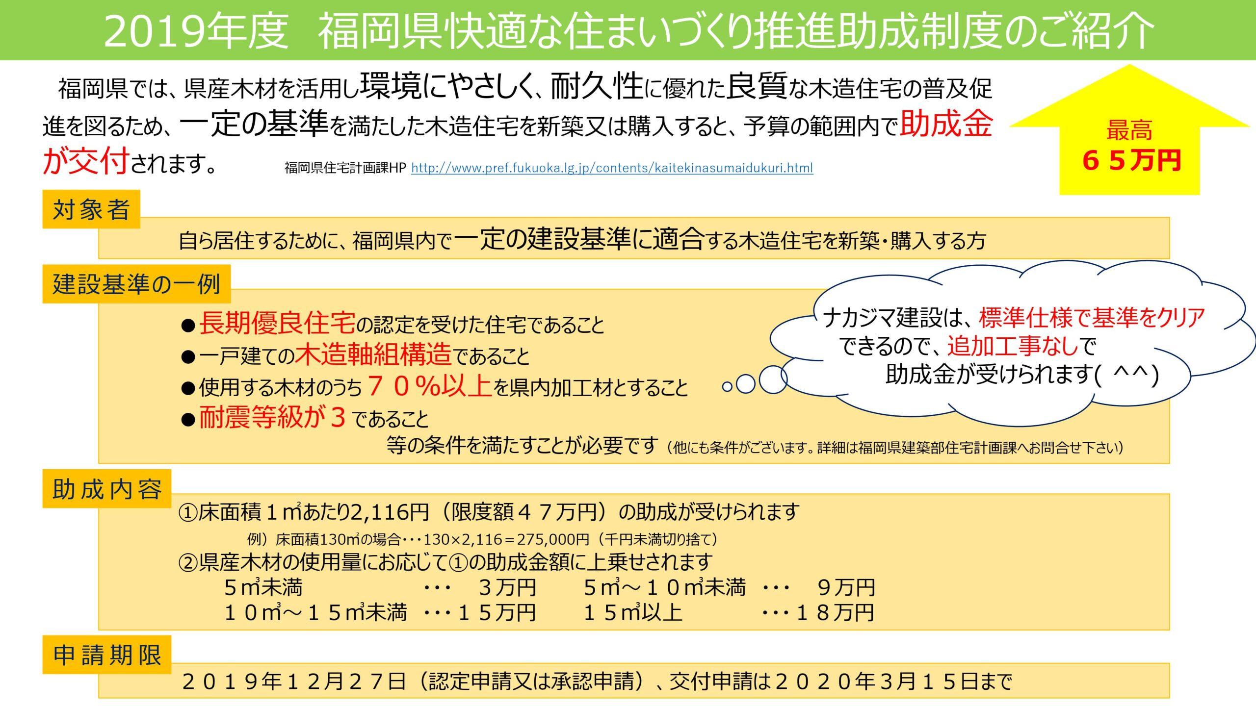 2019年度も福岡県助成金制度スタート!